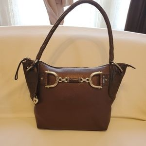 Brighton Brown Leather Tote with Silver Hardware